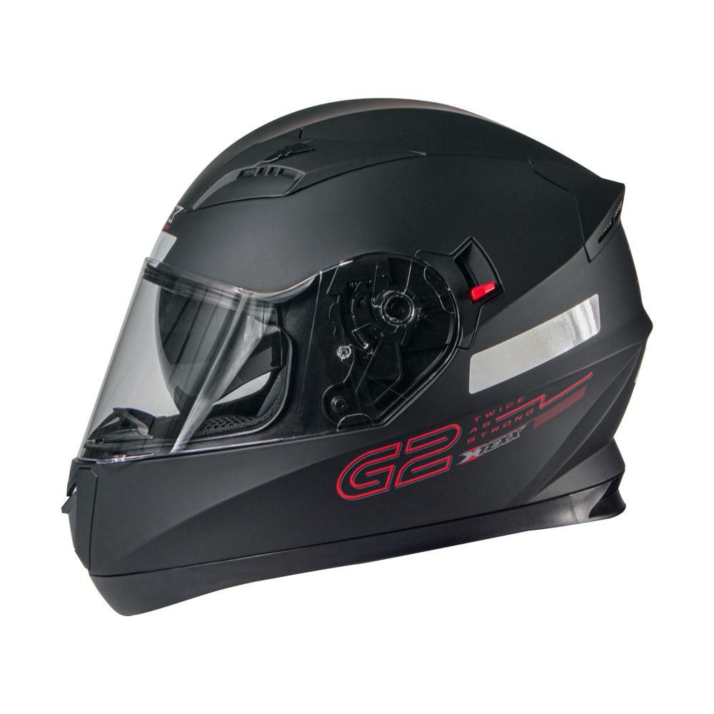 CAPACETE TEXX G2 PRETO COM VERMELHO 58