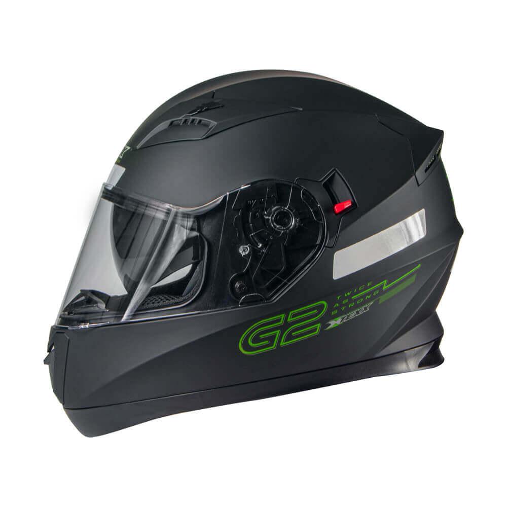 CAPACETE TEXX G2 PRETO COM VERDE 56