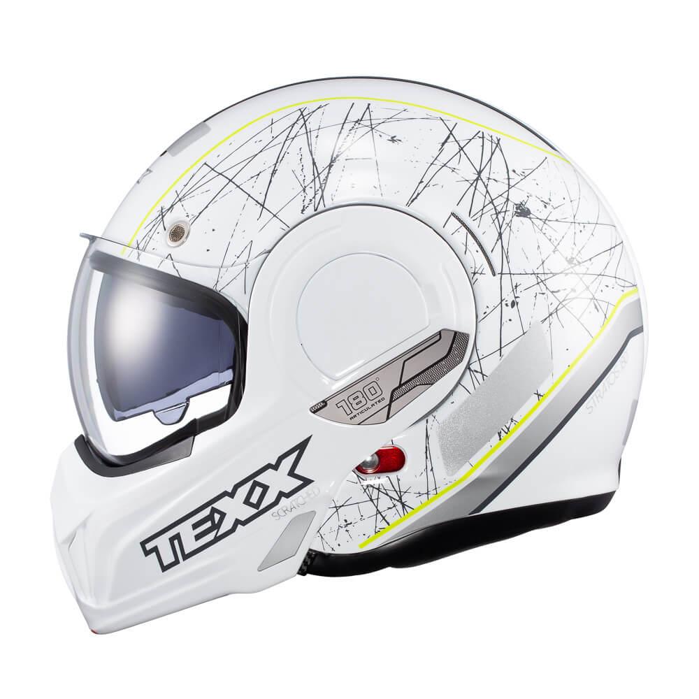 CAPACETE TEXX STRATOS 180° SCRATCHED BRANCO C/ VERDE